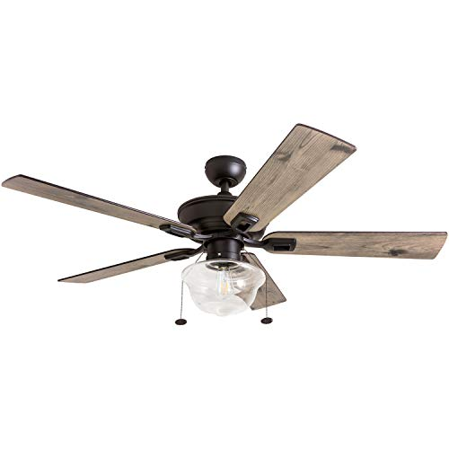 Prominence Home 80091-01 Abner Vintage Indoor/Outdoor Ceiling Fan, ETL Damp Rated 52' LED Schoolhouse Edison Bulb, Rustic Farmhouse/Barnwood Blades, Espresso Bronze