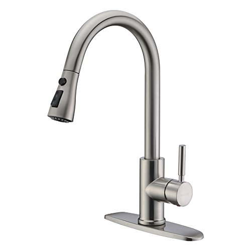 WEWE Single Handle High Arc Brushed Nickel Pull Out Kitchen Faucet,Single Level Stainless Steel Kitchen Sink Faucets with Pull Down Sprayer