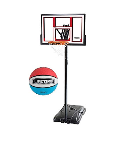 Lifetime 90491 Portable Basketball System, 48 Inch Shatterproof Backboard w/1 Piece Ball Included- Red