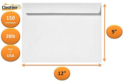 Cashier Depot 9' x 12' Booklet Envelopes, White, Heavy 28LB, 150 Count- Item# GF912NW