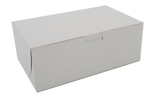 Southern Champion Tray 0925 Premium Clay Coated Kraft Paperboard White Non-Window Lock Corner Bakery Box, 8' Length x 5' Width x 3' Height (Case of 250)