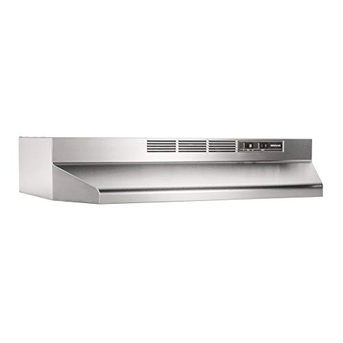Broan-NuTone 413004 Stainless Steel Ductless Range Hood Insert with Light, Exhaust Fan, Under Cabinet, 30-Inches