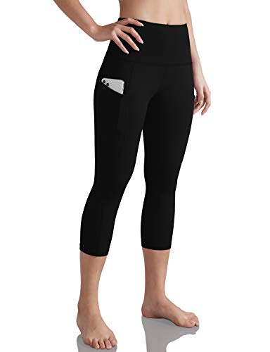 ODODOS Women's High Waist Yoga Capris with Pockets,Tummy Control,Workout Capris Running 4 Way Stretch Yoga Leggings with Pockets,Black,X-Large