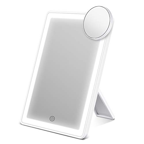 ESR7GEARS Makeup Mirror with Lights, Lighted Vanity Mirror with 72-LED Halo Lighting, Detachable 10 Magnification Mirror, Tricolor Lighting, Stepless Dimming, and Dual Power Options, Cosmetic Mirror
