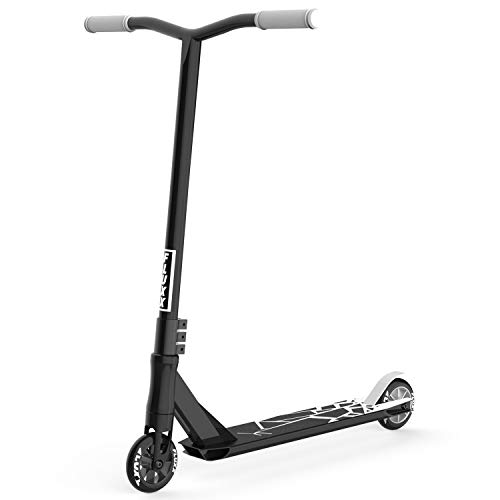 Fluxx SSX Pro Stunt Scooter, Best Entry Level Trick Scooter with 100mm Aluminum Alloy Rim PU Wheels, Lightweight BMX Freestyle Kick Scooter for Beginners Kids 8 Years and Up (Black)