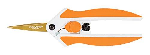 Fiskars 190520-1001 Titanium Micro-Tip Easy Action Scissors, 5 Inch, Orange