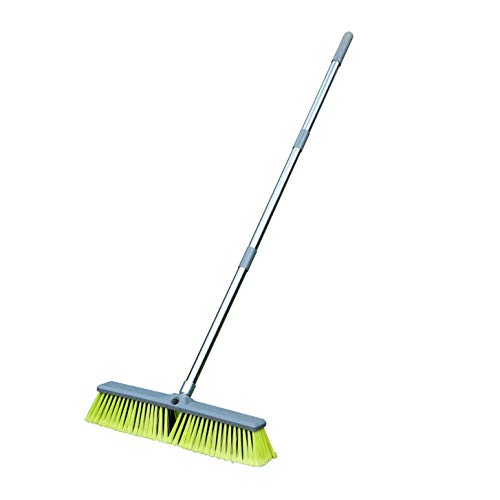 "PHYEX 18"" Push Broom with Adjustable Long Handle, Multi-Surface Floor Scrub Brush for Cleaning Deck, Patio, Garage, Driveway"
