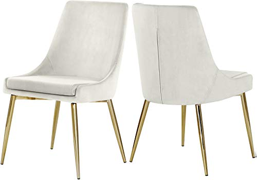 Meridian Furniture Karina Collection Modern | Contemporary Velvet Upholstered Dining Chair with Sturdy Metal Legs, Set of 2, 19.5' W x 21.5' D x 33.5' H, Cream