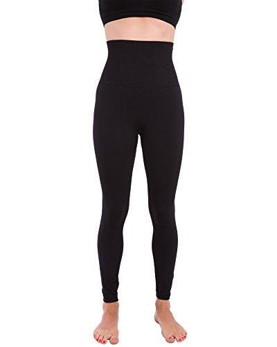 Homma Activewear Thick High Waist Tummy Compression Slimming Body Leggings Pant (X-Large, Black)