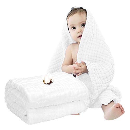 Muslin Baby Towel Super Soft Cotton Baby Bath Towel 6 Layers Infant Towel Newborn Towel Blanket Suitable for Baby's Delicate Skin 40 x 40inches White