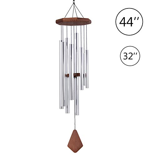 Wind Chimes Outdoor Large Deep Tone,44 inch Wind Chime in Memory of Loved One Tuned Relaxing Soothing Melody,Sympathy WindChimes with 8 Tubes as Memorial Gift for Mom Dad,Garden Decor