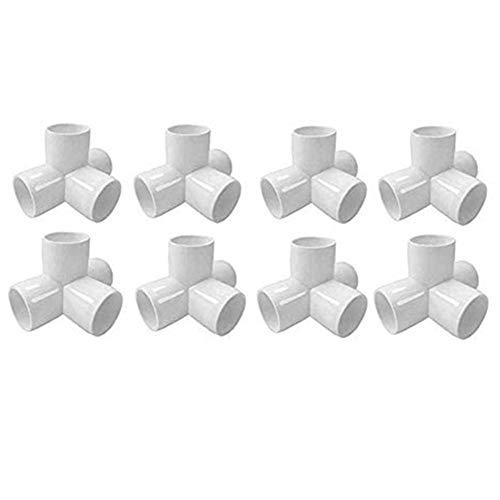 Sasonco PVC Corner Fitting Tee Pipe Fittings PVC Elbow Corner Side Outlet Tee Fitting PVC Three Quarter Elbow Fittings (4 Way 1/2' 8pcs)
