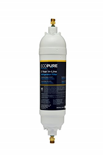 EcoPure EPINL30 5 Year in-Line Refrigerator Filter-Universal Includes Both 1/4' Compression and Push to Connect Fittings