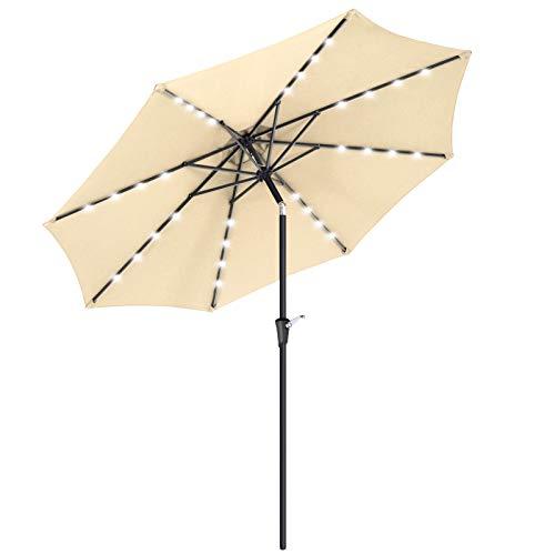 SONGMICS 9 ft Solar Patio Umbrella, Lighted Outdoor Umbrella, 32 LED Lights, with Tilt and Crank Mechanism, for Outdoor Garden Balcony Patio Backyard Market, Without Base, Beige UGPU11BE