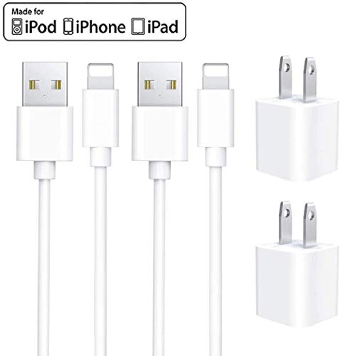 iPhone Charger, [Apple MFi Certified] Lightning to USB Cable 3FT(2 Pack)Fast Charging Data Sync Transfer Cord with(2 Pack)USB Wall Charger Travel Power Plug Compatible with iPhone 11/XS/XR/X 8 7, iPad
