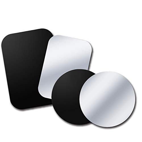 Tryone Metal Plate, Metal Disc Replacements Without Logo or Hole, Compatible with Magnetic Car Mounts, 2 Rectangle 2 Round, Black&Silver