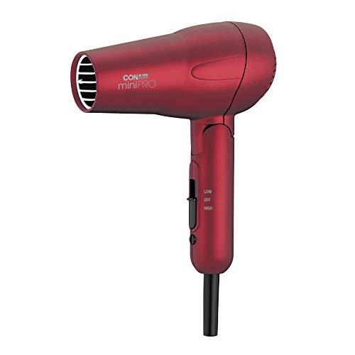 Conair miniPRO Tourmaline Ceramic Hair Dryer with Folding Handle, Travel Hair Dryer, Red (263SR)