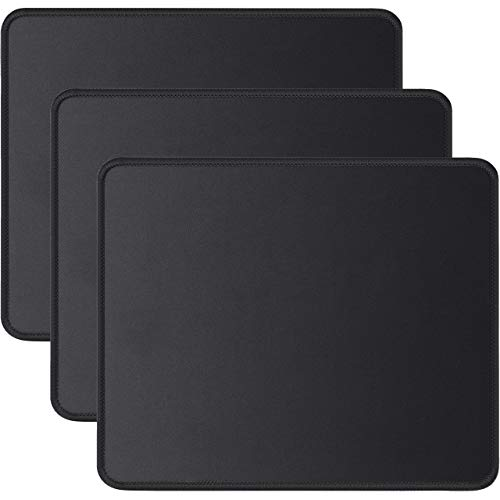 JIKIOU 3 Pack Mouse Pad with Stitched Edge, Computer Mouse Pad with Non-Slip Rubber Base, Washable Mousepads Bulk with Lycra Cloth, Mouse Pads for Computers Laptops Mouse 10.2x8.3x0.12inch Black