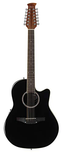 Ovation Applause 12 String Acoustic Guitar, Right, Black, Mid Depth Body (AB2412II-5)