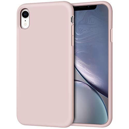 iPhone XR Case, Anuck Soft Silicone Gel Rubber Bumper Phone Case with Anti-Scratch Microfiber Lining Hard Shell Shockproof Full-Body Protective Case Cover for Apple iPhone XR 6.1' 2018 - Pink Sand