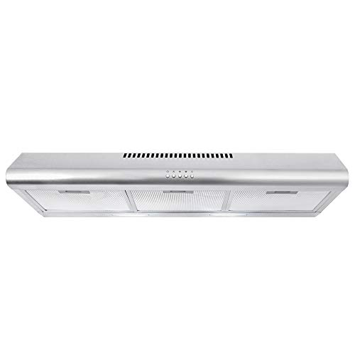 Cosmo COS-5MU36 36 in. Under Cabinet Range Hood Ductless Convertible Duct, Slim Kitchen Stove Vent with 3 Speed Exhaust Fan, Reusable Filter and LED Lights in Stainless Steel, 36 inch