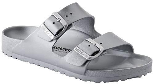 Birkenstock Unisex Arizona Essentials EVA Metallic Silver Sandals - 38 Narrow EU