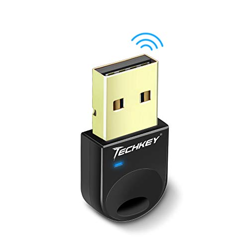 Techkey USB Bluetooth 4.0 Adapter Dongle for PC Laptop Computer Desktop Stereo Music, Skype Call, Keyboard, Mouse, Support All Windows 10 8.1 8 7 XP Vista