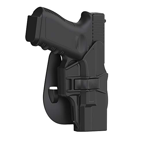 Glock 19 Holster, OWB Paddle Holster for Glock 19 19X 23 32 45(Gen 1 2 3 4 5), Outside Waistband Polymer Holster, Adjustable Paddle Holster, Open Carry Belt Holster - Right Handed