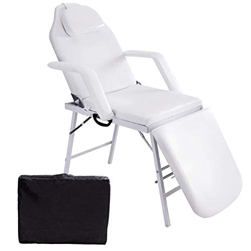 Giantex Adjustable Massage Facial Table Bed, 73 Inch Massage Tattoo Chair for Salon Beauty Spa, Portable Folding Spa Bed Table w/Carry Case, White