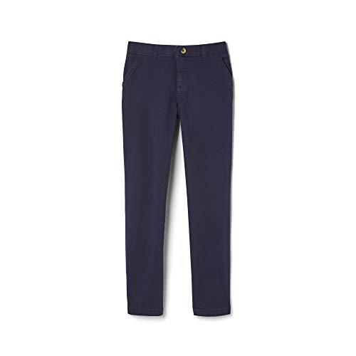 French Toast Boys' Big Adjustable Waist Stretch Straight Fit Chino Pant (Standard & Husky), Navy, 8