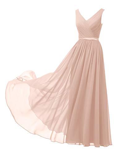 Alicepub V-Neck Chiffon Blush Bridesmaid Dress Long Formal Gown Party Evening Dress Sleeveless, Pearl Pink, US10