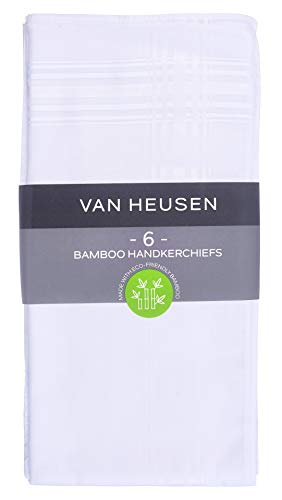 Van Heusen 6 pack Men's Fine Handkerchiefs (White- Bamboo)