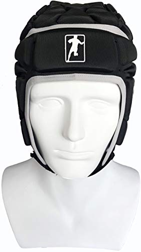 gearD Soft Shell Headgear Rugby + Free Bag – Padded Head, Chin, Ear Protection – Soccer Goalie Helmet – Black Adult Size Pro Sport Headguards- Flag Football Scrum Cap – Elite Goalkeeper Guard