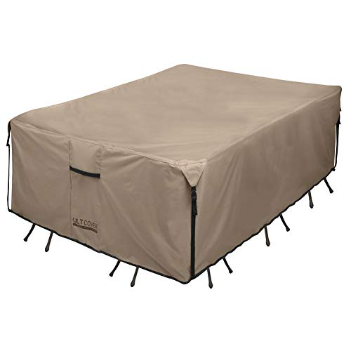 ULTCOVER Rectangular Patio Heavy Duty Table Cover - 600D Tough Canvas Waterproof Outdoor Dining Table Chair Set Cover Size 88L x 62W x 28H inch