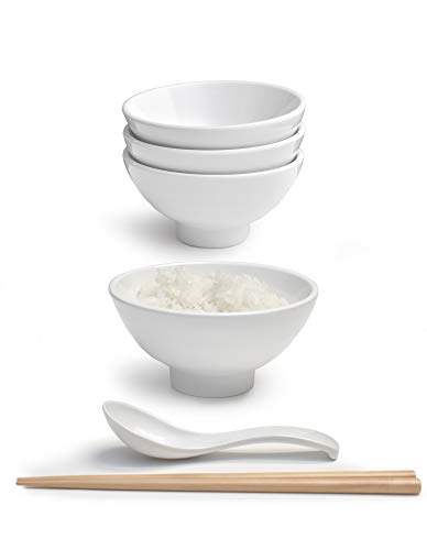Set of 4 (12 Pieces) 9.5 Ounce Japanese Small Rice Bowl Thick Melamine Hard Plastic Dishware Set for Fruits Snacks Appetizers Soups Dips with Spoon and Chopsticks (4, White, 4.7 inch)