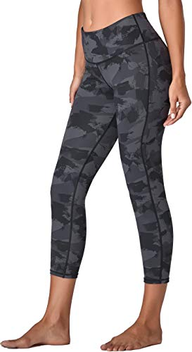 Oalka Women's Yoga Capris Running Pants Workout Leggings Camo Charcoal Splinter Large