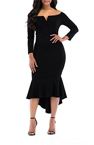 onlypuff Fishtail Dresses for Women Midi Bodycon Dress Long Sleeve V Neck Cocktail Dress (X-Large, L-Black)