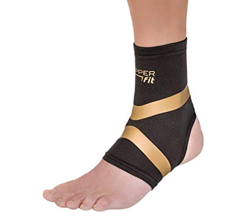 Copper Fit CFPROAK Pro Series Performance Compression Ankle Sleeve, Black with Copper Trim, Large