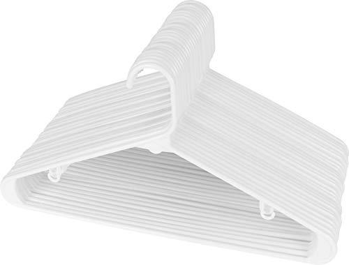 Utopia Home White Plastic Standard Hangers for Clothes Tubular Hangers - Pack of 30 - Durable, Slim & Sleek