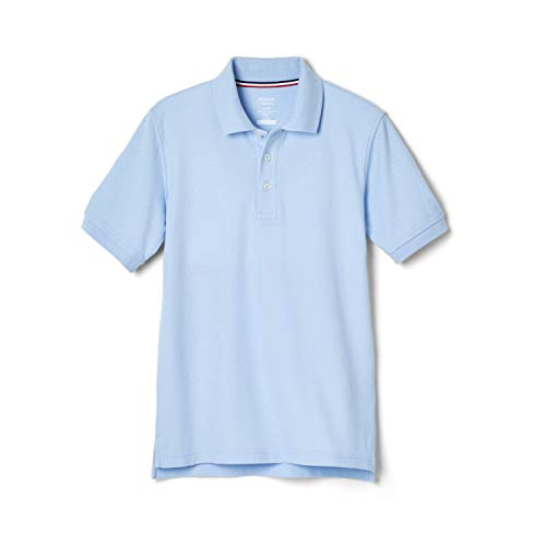 French Toast Boys' Short Sleeve Pique Polo Shirt (Standard & Husky), Light Blue, 10-12