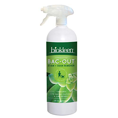 Biokleen Bac-Out Enzyme Stain Remover - 32 Ounce - Natural Foam Spray, Destroys Stains & Odors Safely, for Pet Stains, Laundry, Diapers, Wine, Carpets, Eco-Friendly, Non-Toxic, Plant-Based