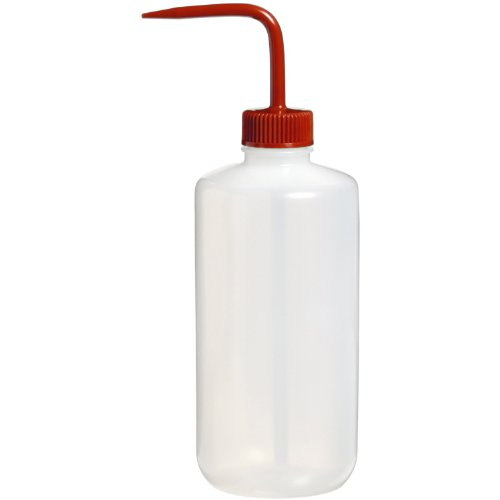 Nalgene 2421-0500 Fluorinated HDPE Solvent Wash Bottle, 500mL Capacity, 53mm Red Fluorinated Polypropylene Closure (Pack of 2)