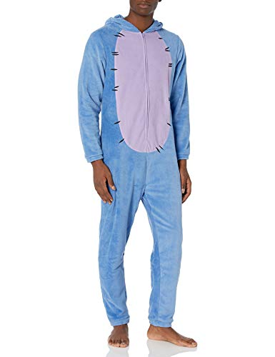 Disney Men's Winnie The Pooh Hooded One Piece Pajama, Eeyore, L