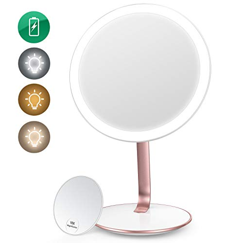 EASEHOLD Lighted Makeup Mirror Vanity Mirror with light 3 Color Lighting Modes Rechargeable 52LED Cosmetic Mirror 1X/10X Magnification High Definition Portable Beauty Mirror for Countertop Home Travel