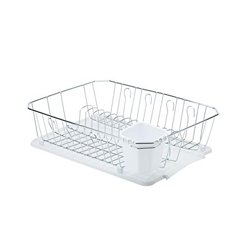 Kitchen Details 3 Piece Countertop Chrome Dish Drying Rack with Cutlery Basket and Drainboard Tray, White