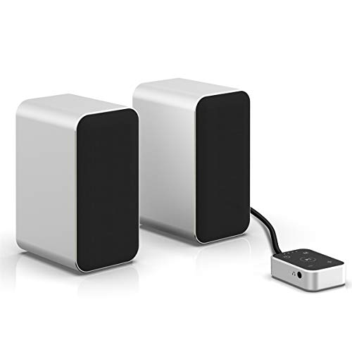 KEiiD PC Computer Speaker Compact Bluetooth Stereo System with Aluminum Housing for Laptop Desktop PC Gaming Computers, Unique Touch Controller, Built-in Bluetooth 5.0 Receiver for Wireless Streaming
