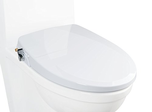 ALPHA BIDET ONE V2 Bidet Seat - IMPROVED COLOR - Elongated - Non-Electric Dual Nozzles - Ultra Low Profile - Powerful Spray - EZ 1 Lever Control - LED Nightlight - Sturdy Sittable Lid, White