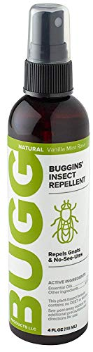 Buggins Natural Insect Repellent, DEET-Free, Repels Gnats & Flies, Plant Based, Vanilla Mint & Rose Scent, 4-oz