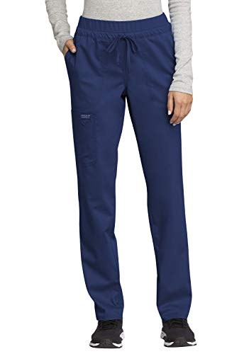 CHEROKEE Workwear WW Revolution Mid Rise Tapered Leg Drawstring Pant, WW105, S, Navy