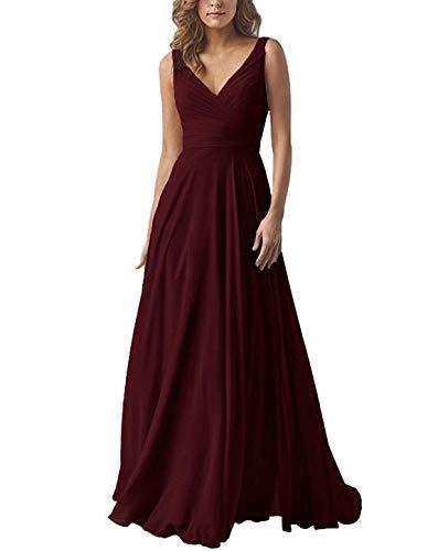 Yilis Double V Neck Elegant Long Bridesmaid Dress Chiffon Wedding Evening Dress Burgundy US2